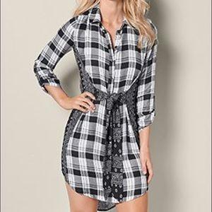 NWT VENUS Plaid Waist Tie Shirt Dress